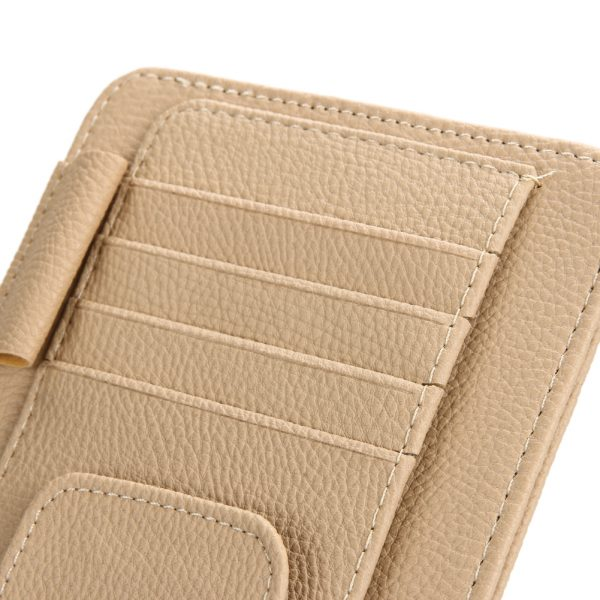 Universal Car Auto Sun Visor Glasses Sunglasses Pen Card Ticket Clip Holder Multiuse Suit Leather 11