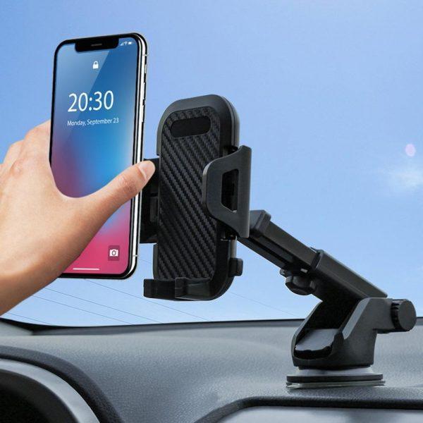 Carbon Fiber Texture Mobile Phone Holder Car Suction Cup Bracket Mobile Phone Navigation Bracket Car Phone